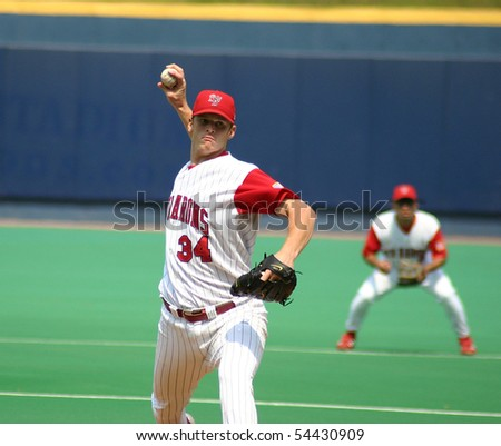 SCRANTON - JULY 31: Scranton Wilkes Barre Red Barons' pitcher, Gavin Floyd pitched against the Rochester Red Wing in a game at PNC Field July 31, 2005 in Scranton, PA. - stock photo