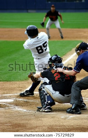 SCRANTON - JULY 31: Scranton Wilkes Barre Yankees batter, No.85, swings at a pitch in a game at PNC Field on July 31, 2008 in Scranton, PA. - stock photo