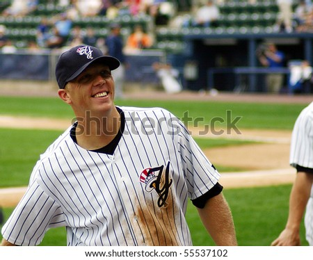 SCRANTON - JUNE 26: Scranton Wilkes Barre Yankees Shelly Duncan smiles during a game against the Columbus Clippers in a game at PNC Field June 26, 2008 in Scranton, PA - stock photo