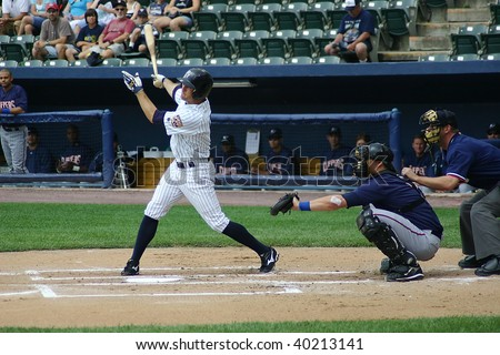 SCRANTON - JUNE 26: Scranton Wilkes Barre Yankees takes a big swing against the Columbus Clippers in a game at PNC Field June 26, 2008 in Scranton, PA. - stock photo