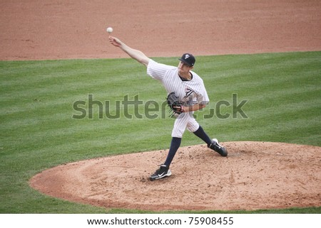 SCRANTON, PA -April 24: Scranton Wilkes-Barre Yankees pitcher Andrew Brackman throws a pitch against the Syracuse Skychiefs at PNC Field  on April 24, 2011 in Scranton, Pa - stock photo