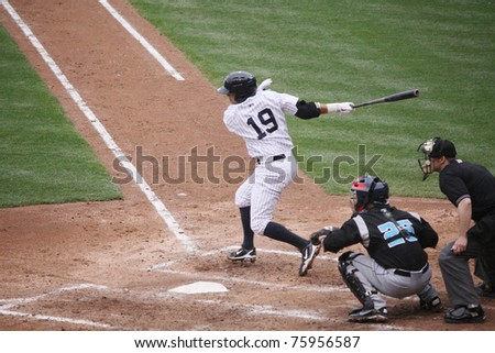 SCRANTON, PA -April 24: Scranton Wilkes-Barre Yankees Ramiro Pena takes a big swing during a game against the Syracuse Sky Chiefs at PNC Field on April 24, 2011 in Scranton, Pa - stock photo