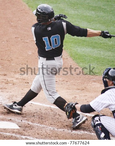 SCRANTON, PA - APRIL 24: Syracuse Skychiefs' Michael Aubrey takes a big swing at a pitch during a game against the Scranton Wilkes Barre Yankees at PNC Field on April 24, 2011 in Scranton, PA - stock photo