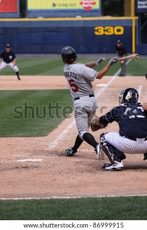 SCRANTON, PA - AUGUST 24: Rochester Red Wings batter Aaron Roberts at the plate during a game against the Scranton Wilkes Barre Yankees at PNC Field on August 24, 2011 in Scranton, PA. - stock photo