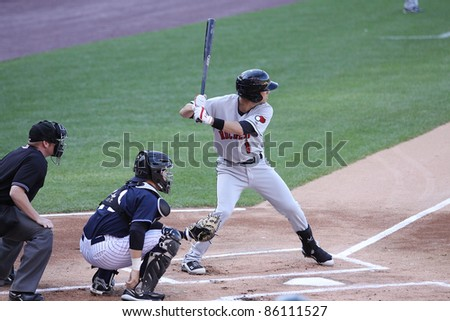 SCRANTON, PA - JULY 9: Rochester Red Wings batter Trevor Plouffe stands in the batter's box during a game against the Scranton Wilkes Barre Yankees at PNC Field on July 9, 2011 in Scranton, PA. - stock photo