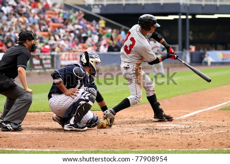 SCRANTON, PA - MAY 24:Indianapolis Indians center fielder Gorkys Hernandez swings at pitch in a game against the Scranton Wilkes Barre Yankees at PNC Field on May 24, 2011 in Scranton, PA. - stock photo