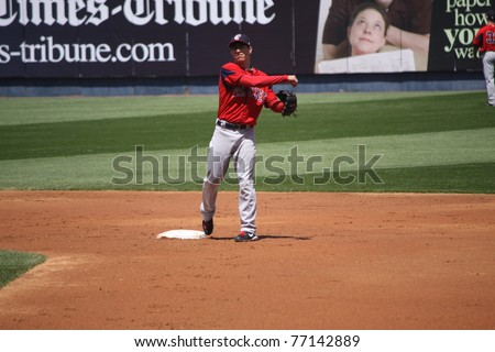 SCRANTON, PA - MAY 8: Pawtucket Red Sox 2nd baseman Nate Spears throws the ball in a game against the  Scranton Wilkes Barre Yankees PNC Field on May 8, 2011 in Scranton, PA. - stock photo