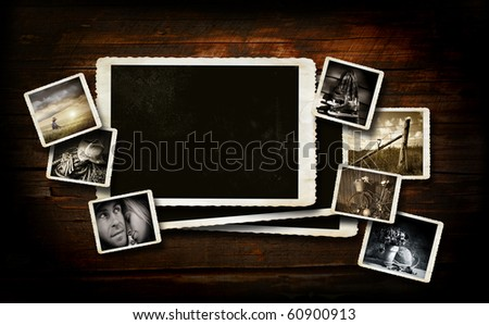 Scrap booking  background on dark wood with photos - stock photo
