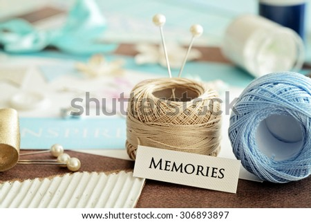scrap booking craft tools - stock photo