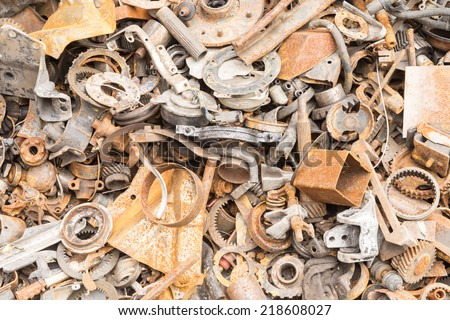 scrap iron unused, rubble, remnant of iron texture, background - stock photo