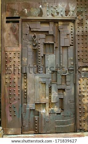 Scrap metal door - stock photo