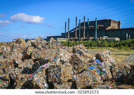 Scrap Steel recycling prepared for smelting in steel industry - stock photo