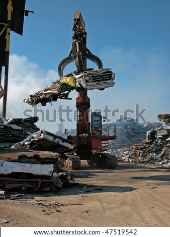 scrap yard recycling old cars - stock photo