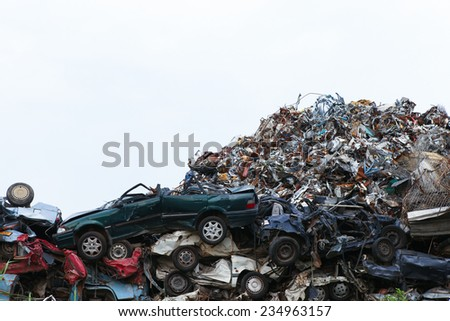 Scrap yard with cars - stock photo