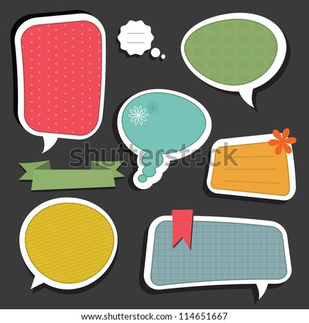 Scrapbook speech bubbles text box - stock photo