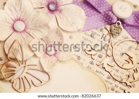 scrapbooking greeting card details - stock photo