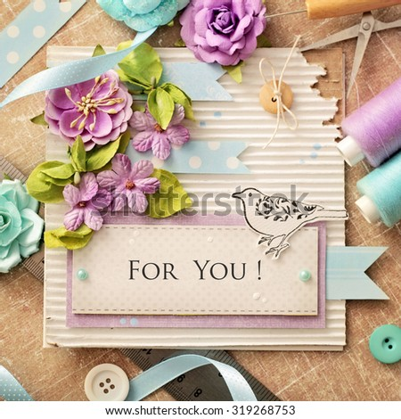scrapbooking - making of greeting card - stock photo