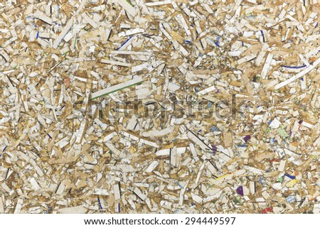 Scraps of paper and wood background texture. - stock photo
