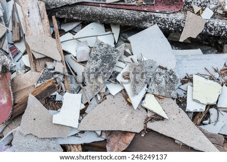 Scraps of roof tile - stock photo