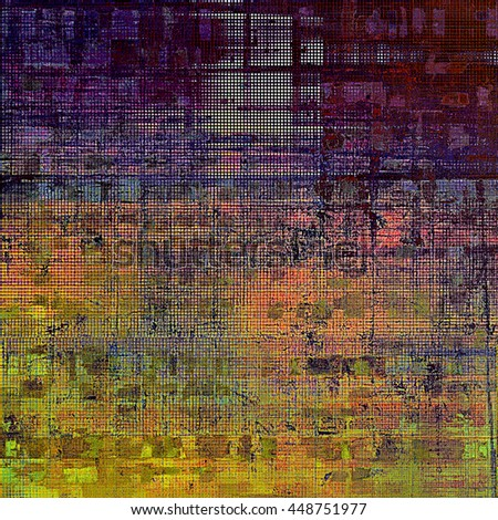 Scratched background with retro style overlay. Aged texture with different color patterns: yellow (beige); brown; green; blue; red (orange); purple (violet) - stock photo