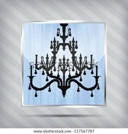 scratched blue icon with silhouette of chandelier on the striped background - stock photo