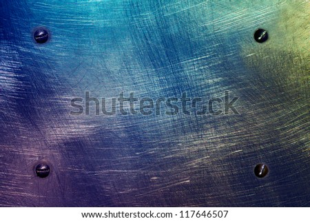 Scratched colored metal plate - stock photo