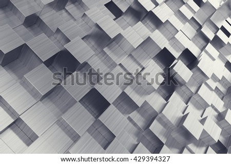 Scratched cubes abstract background with focus effect. 3d illustration - stock photo