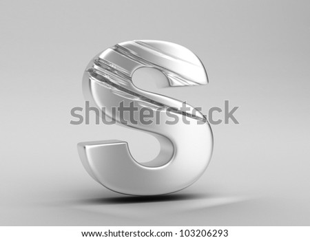 scratched glossy metal 3d letter s WITH ALPHA CHANNEL - stock photo