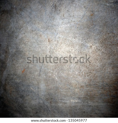 scratched grunge metal plating;  industrial  abstract background - stock photo