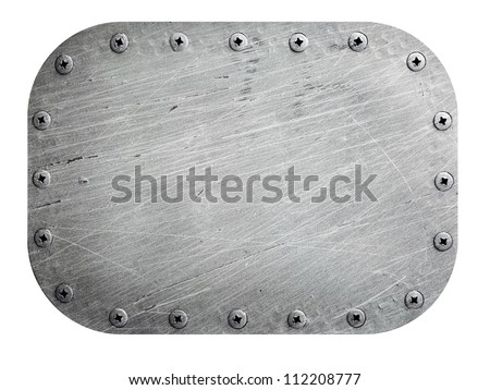 Scratched metal plate isolated on white - stock photo