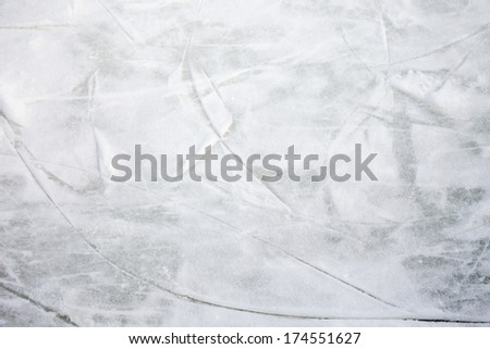 Scratches on the surface of the ice rink - stock photo