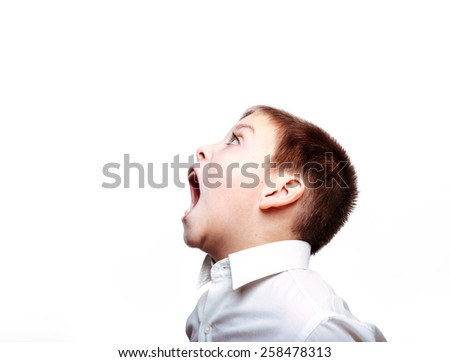 Screaming boy. Isolated on white. - stock photo