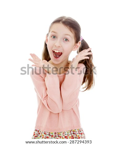 Screaming girl closeup- Isolated on white background - stock photo