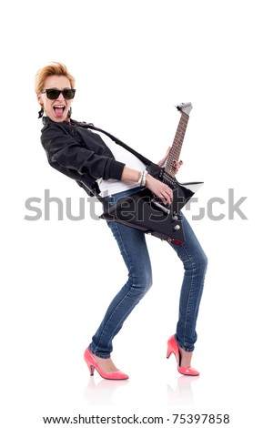 screaming girl playing an electric guitar over white - stock photo
