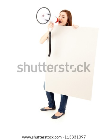 screaming girl with megaphone and blank billboard, white background - stock photo