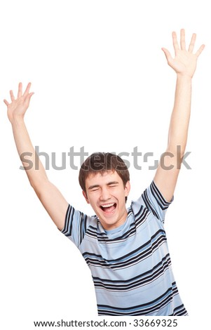 Screaming guy over white background - stock photo