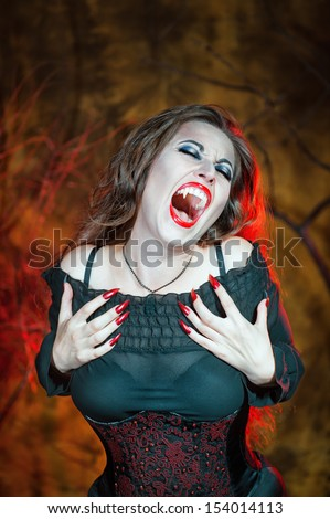 Screaming halloween vampire  - stock photo
