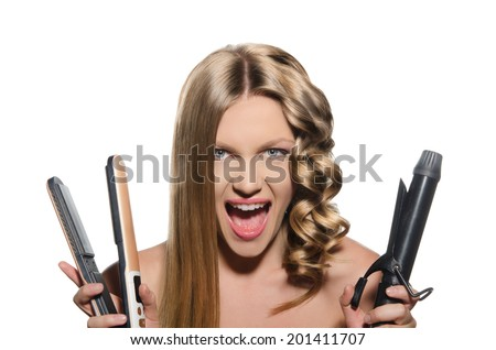 Screaming woman keeps hair curlers and rectifier - stock photo