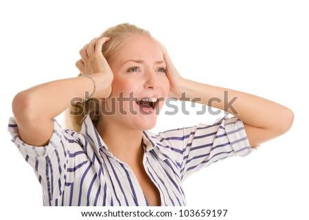 Screaming woman touching her head - stock photo