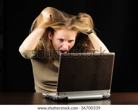 screaming young woman - stock photo