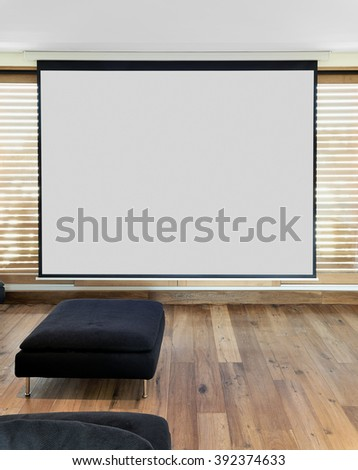 Screen for Home cinema Theater in apartment  - stock photo
