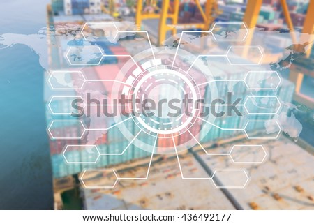 screen interface chart blank with container ship background - stock photo