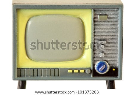 screen of little retro plastic television isolated on white background - stock photo