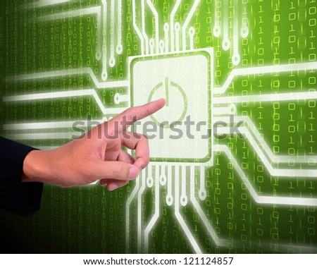 Screen of security network with power on symbol and hand - stock photo
