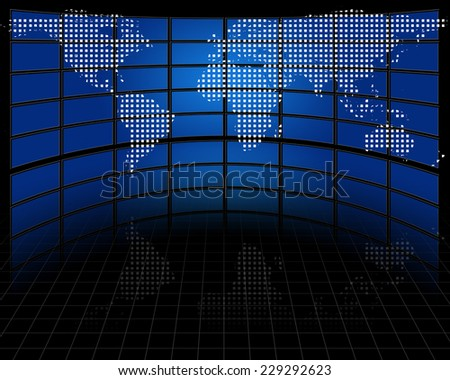 Screens with projected map of earth Elements of this image furnished by NASA - stock photo