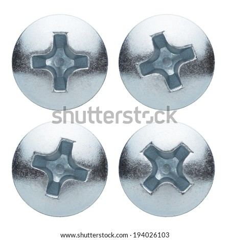 Screw heads isolated on a white background - stock photo
