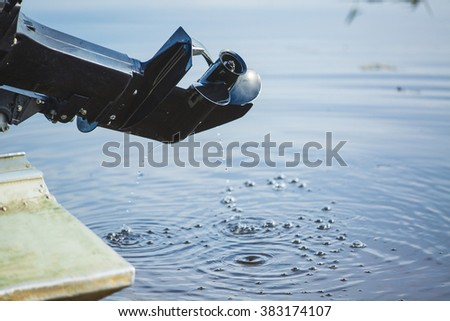 screw motor boat, river - stock photo