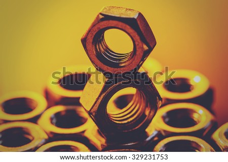 Screw nuts. Industrial object. - stock photo