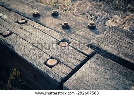 Screw with wood - stock photo