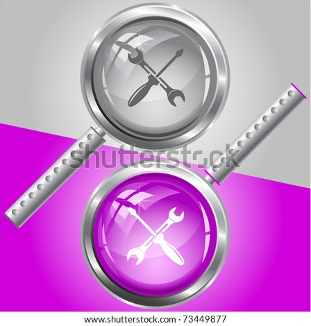 Screwdriver and spanner. Raster magnifying glass. Vector version is in my portfolio. - stock photo